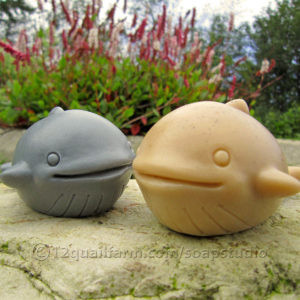 Pair of Whale Soaps (Grey & Beige)