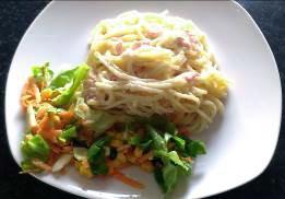 Spaghetti Carbonara with quail eggs